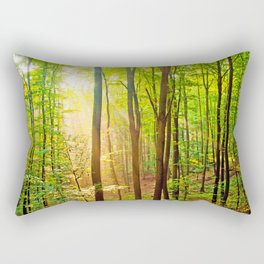 Sunbeams in the forest Rectangular Pillow
