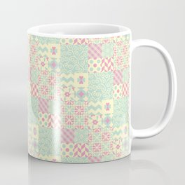 Yellow, Pink & Green Squared Patchwork Pattern Coffee Mug