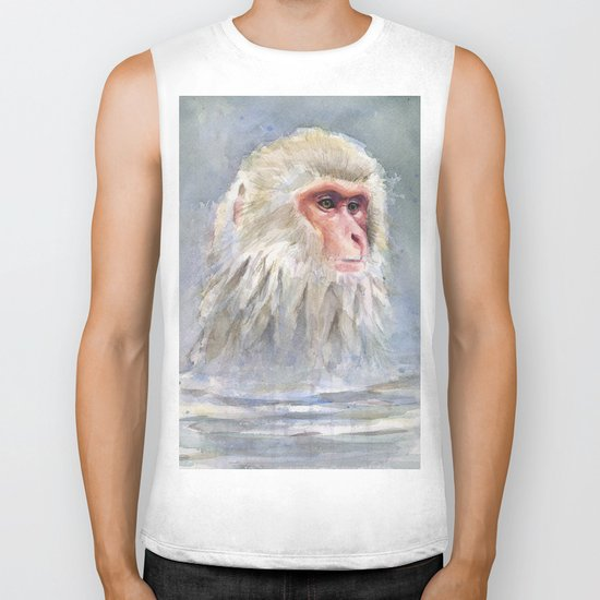 Snow Monkey Watercolor Animal Biker Tank