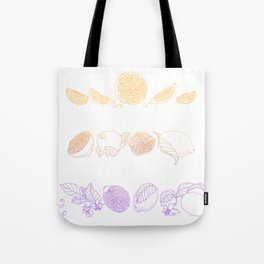 Vertical line of a slice and half of citrus fruit in juicy tones. Graphic design in conceptual e Tote Bag