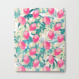 Pink fruit with tropical pattern #society6 Metal Print