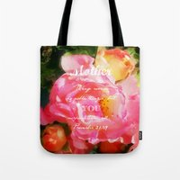 bible verse Tote Bags featuring Roses - Verse by Anita Faye