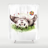 panda Shower Curtains featuring Panda by Anna Shell
