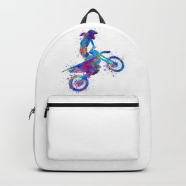 Girl Motocross Colorful Blue Watercolor Art Motosport Gift Backpack