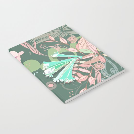 Hummingbird leaf tangle, green pale pink Notebook
