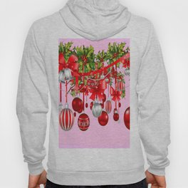 RED HOLIDAY ORNAMENTS FLORAL ART Hoody