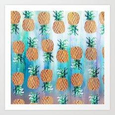 Pineapple Beach Aqua Art Print