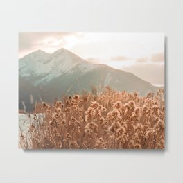 Golden Wheat Mountain // Yellow Heads of Grain Blurry Scenic Peak Metal Print