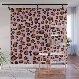 Jungle - Leopard Pattern Light Pink Wall Mural