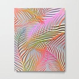 Palm Leaves Pattern - Pink, Gray, Orange Metal Print