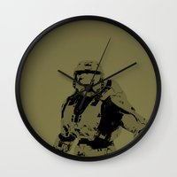 master chief Wall Clocks featuring Master Chief by Anthony Bellus