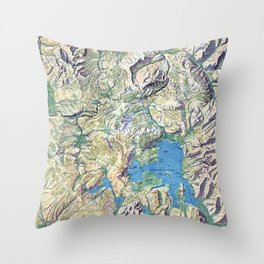 Vintage Yellowstone National Park Topographical Map Throw Pillow