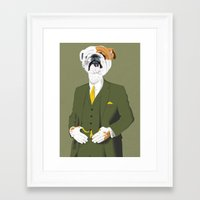 english bulldog Framed Art Prints featuring English Bulldog by drawgood