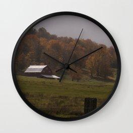 Fall Barn Scene Wall Clock