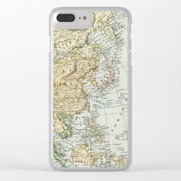 China, Russia, Japan Vintage Map Clear iPhone Case