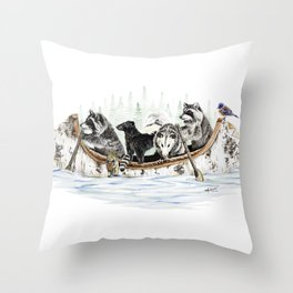 """"""" Critter Canoe """" wildlife rowing up river Throw Pillow"""
