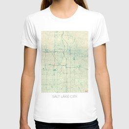 Salt Lake City Map Blue Vintage T-shirt