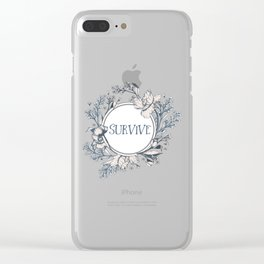 SURVIVE - A Floral Print Clear iPhone Case