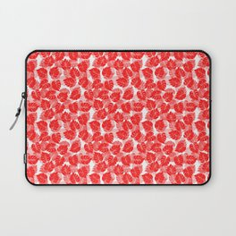 Big Monstera Tropical Leaf Hawaii Rain Forest Red on White Laptop Sleeve
