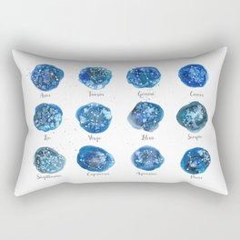 Watercolor Zodiac Star Constellations Rectangular Pillow