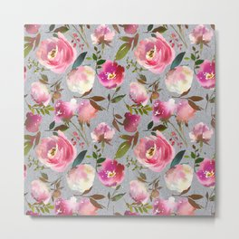 Gray blush pink coral yellow hand painted floral Metal Print