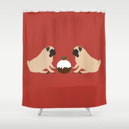 Christmas Pudding and Pugs Shower Curtain