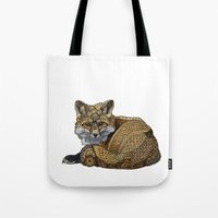 kit king Tote Bags featuring Fox Kit by ZHField