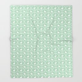 Rabbit pet silhouette floral rabbits bunny gifts cute minimal pets mint Throw Blanket