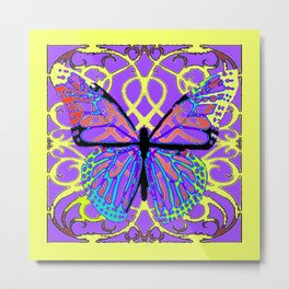 ABSTRACT PURPLE-YELLOW BUTTERFLY ART Metal Print