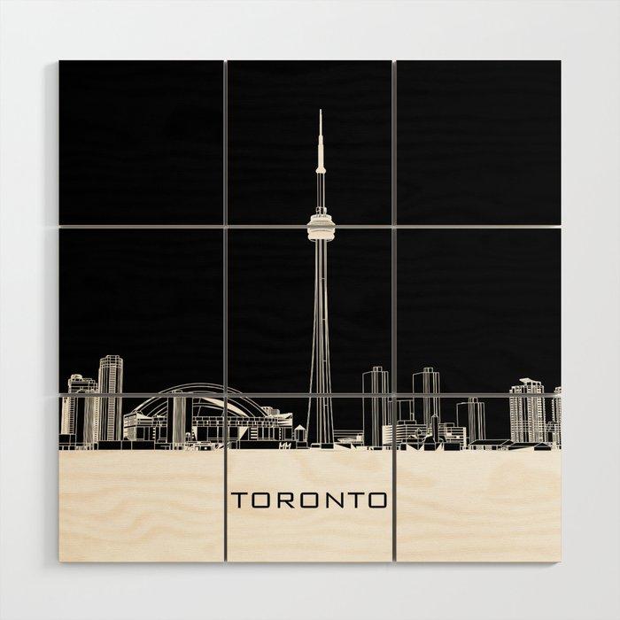 Toronto Skyline - White ground / Black Background Wood Wall Art