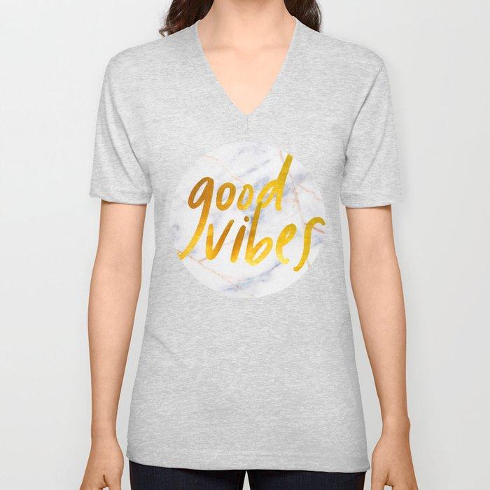 Good Vibes - Golden Lettering on Luxury Marble Unisex V-Neck