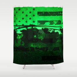 Military Night Operations with American Flag Shower Curtain