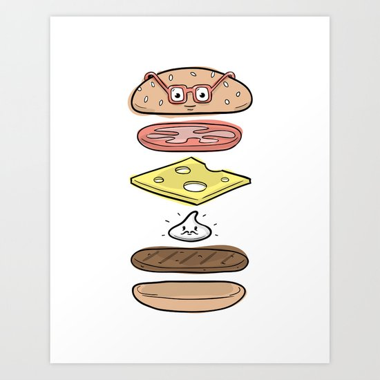 Friends Go Better Together 4/7 - Hamburger and Mayo Art Print