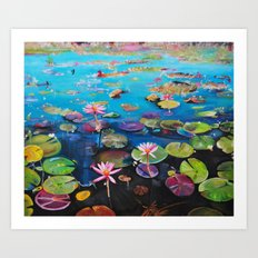 Colorful pond Art Print