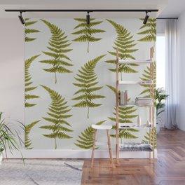 Green Watercolor Fern Pattern Wall Mural