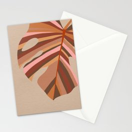 Monstera Leaf - Earthy,Terracotta & Pink Stationery Cards