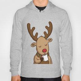 Christmas Deer Enjoying with Coffee Hoody
