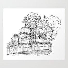 Conservatory of succulent - Black Art Print