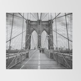 Brooklyn Bridge, New York City (rustic black & white) Throw Blanket