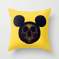 mickey Throw Pillows featuring Mickey by nicebleed