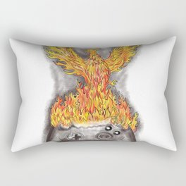 Phoenix Rising Over Game Controller Tattoo Rectangular Pillow