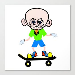 Big Headed Skateboarder Canvas Print