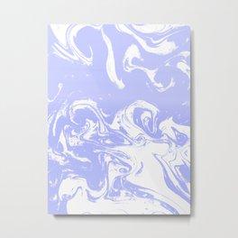 Suminagashi marble pastel blue minimal painting watercolor abstract Metal Print
