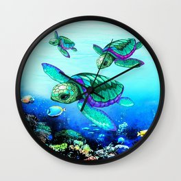 Sea Turtles Dance Wall Clock