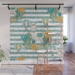 Cute Llama & Succulent Teal Glitter Stripe Pattern Wall Mural
