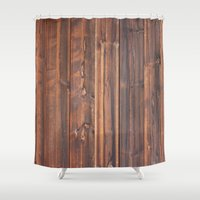 wooden Shower Curtains featuring wooden by Katharina Nachher