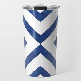 Geometrical modern navy blue watercolor abstract pattern Travel Mug