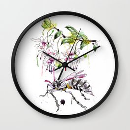 A Flower & Mechanical Wasp Wall Clock