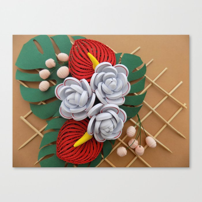 Anthurium rose flowers paper quilling canvas print by anthurium rose flowers paper quilling canvas print mightylinksfo