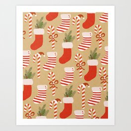 Christmas candy canes and Christmas socks on craft print Art Print